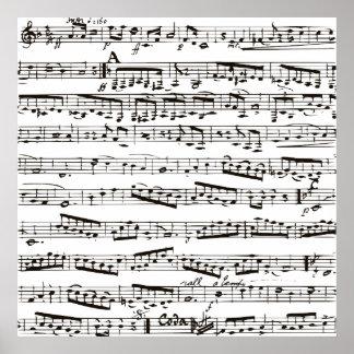Notas musicales blancos y negros poster