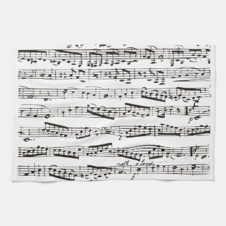 Notas musicales blancos y negros toalla