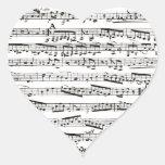 Notas musicales blancos y negros calcomanías de corazones