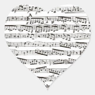 Notas musicales blancos y negros pegatina en forma de corazón