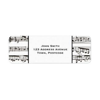 Notas musicales blancos y negros (pequeño texto) etiquetas de remite