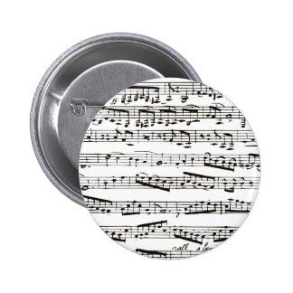 Notas musicales blancos y negros pin redondo de 2 pulgadas
