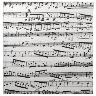 Notas musicales blancos y negros servilleta imprimida