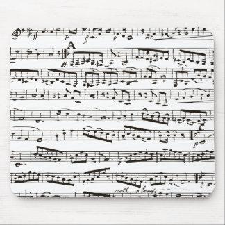 Notas musicales blancos y negros alfombrillas de ratón