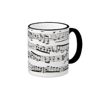 Notas musicales blancos y negros tazas