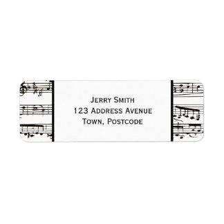 Notas musicales blancos y negros (texto grande) etiqueta de remite