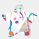 Notas musicales calcomanía cuadrada