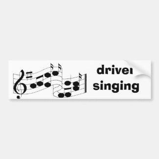 notas musicales, canto del conductor etiqueta de parachoque