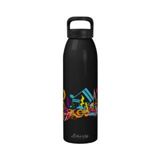 Notas musicales coloridas botella de agua reutilizable