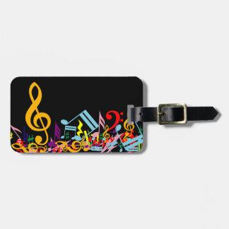 Notas musicales coloridas etiqueta de equipaje