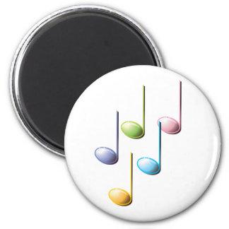 Notas musicales coloridas imán redondo 5 cm