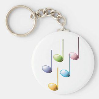 Notas musicales coloridas llavero redondo tipo pin
