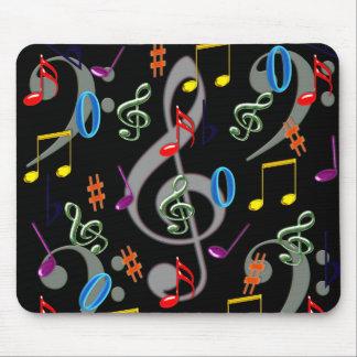Notas musicales coloridas Mousepad Tapetes De Raton