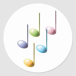 Notas musicales coloridas pegatina redonda