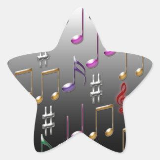Notas musicales coloridas sobre fondo gris pegatina en forma de estrella