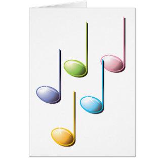 Notas musicales coloridas tarjeta de felicitación