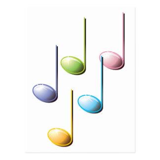 Notas musicales coloridas tarjetas postales