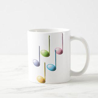 Notas musicales coloridas taza clásica