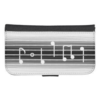 Notas musicales de las cerdas billetera para teléfono