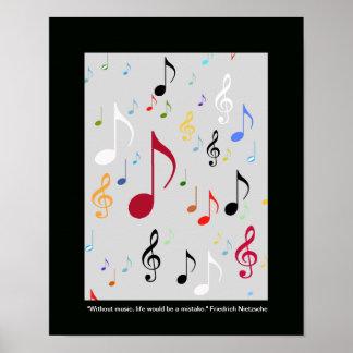 notas musicales de los símbolos de música póster