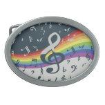 Notas musicales de moda sobre el arco iris hebillas cinturon
