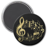 Notas musicales de oro en forma oval imán de nevera