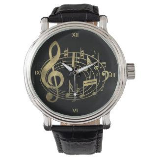 Notas musicales de oro en forma oval reloj de mano