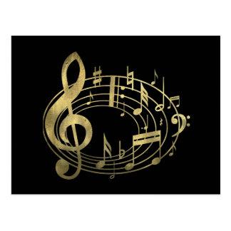 Notas musicales de oro en forma oval tarjetas postales