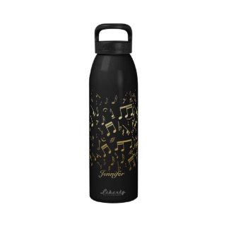 Notas musicales de oro personalizadas botellas de agua reutilizables
