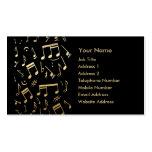 Notas musicales de oro sobre fondo negro tarjetas de negocios