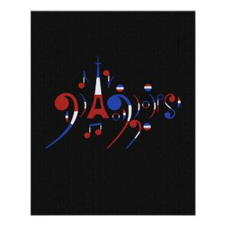 Notas musicales de París Flyer Personalizado