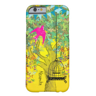Notas musicales del árbol del color brillante funda de iPhone 6 barely there
