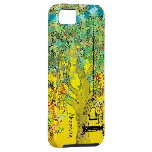 Notas musicales del árbol del color brillante funda para iPhone SE/5/5s