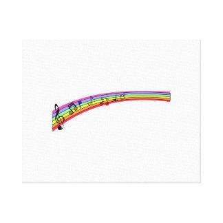 Notas musicales del arco iris impresiones en lona