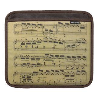 Notas musicales del papel de partitura del vintage mangas de iPad