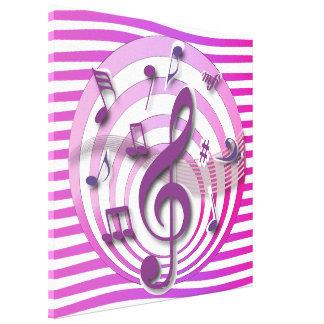 Notas musicales del rosa retro del efecto 3D
