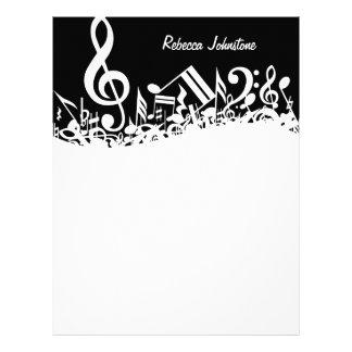 Notas musicales embarulladas blancas membrete a diseño