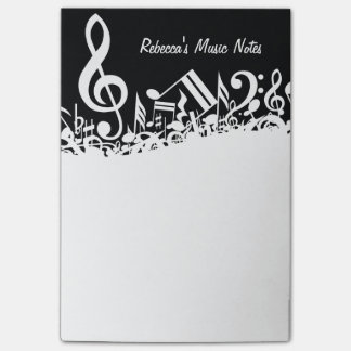 Notas musicales embarulladas blancas notas post-it