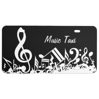 Notas musicales embarulladas blancas placa de matrícula
