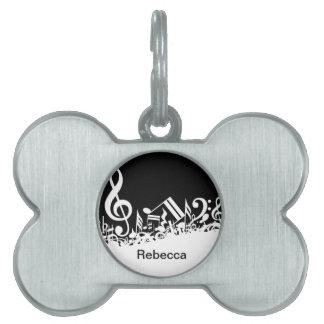 Notas musicales embarulladas blancas placa de nombre de mascota