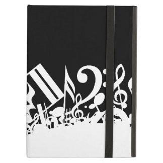 Notas musicales embarulladas blancas sobre negro