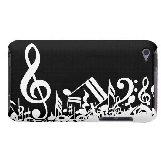Notas musicales embarulladas blancas sobre negro iPod touch funda