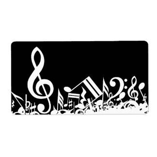 Notas musicales embarulladas blancos y negros etiqueta de envío
