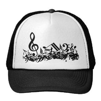 Notas musicales embarulladas blancos y negros gorros bordados