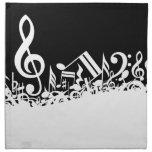 Notas musicales embarulladas blancos y negros servilleta imprimida
