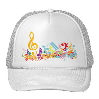Notas musicales embarulladas coloridas gorra