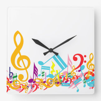 Notas musicales embarulladas coloridas reloj cuadrado