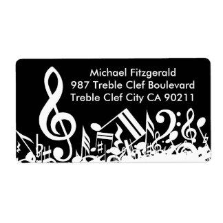 Notas musicales embarulladas personalizadas etiqueta de envío