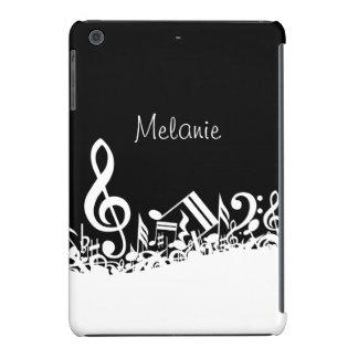 Notas musicales embarulladas personalizadas funda de iPad mini