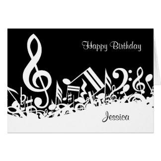 Notas musicales embarulladas personalizadas felicitacion